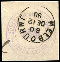 Lot 16398:Governor of Victoria: Die 6 (triple circle handstamp in violet) used at Melbourne on DE12/98.