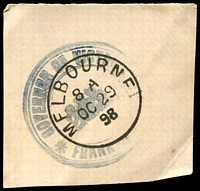 Lot 2964:Governor of Victoria: Die 6 (triple circle handstamp in violet) used at Melbourne on OC29/98.