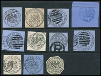 Lot 3494:Selection: of printed frank cut-outs with Chief Secretary, Defence, Health blue Minister of Justice (h/s), Mines, Postmaster General, Public Instruction, Public Works, Railways x2 & Water Supply. (11)