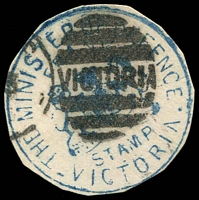 Lot 16400:The Minister of Defence: Die 1 handstamp in blue used at Melbourne, cut-to-shape.