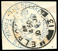 Lot 16401:The Speaker: handstamp in blue used at Melbourne. [scarce]