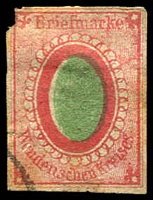 Lot 4570 [3 of 3]:1863-71 Solid Green Centre SG #4,6,7 reprints or forgeries of all three issues. (3)