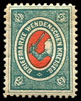 Lot 4573:1875 Arms of Wenden SG #9 2k blue-green & red, Cat £13.