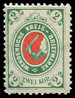 Lot 4575:1878 Arms of Wenden SG #10 2k green & red, Cat £13.