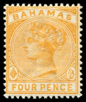 Lot 3326:1884-90 Wmk Crown/CA Perf 14 SG #53 4d deep yellow.