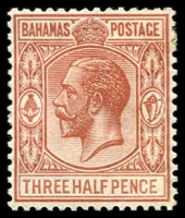 Lot 3329:1921-37 KGV Wmk Script Crown/CA SG #117 1½d brown-red, Cat £13.