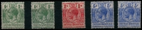 Lot 3395:1915-16 Security Overprints SG #111-3 1c x2, 2c & 5c x2. (5)