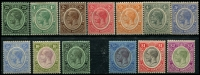 Lot 3398:1922-33 KGV SG #124,126-37 1c to $2, incl 25c Mult Crown/CA and both shades of 5c, Cat £80. (13)