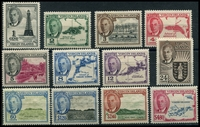 Lot 3407:1952 KGVI Pictorials SG #136-47 complete set, Cat £50.