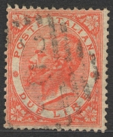 Lot 3828:1863 King Victor Emanuel II SG #16 2L pale scarlet, Cat £30, few pulled perfs.