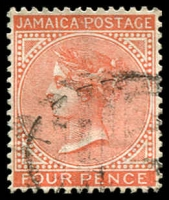 Lot 3848:1883-97 Wmk Crown/CA SG #22 4d red-orange, Cat £22.