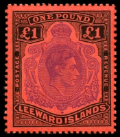 Lot 3883:1938-51 KGVI SG #114c £1 violet & black/scarlet P13, Cat £35.