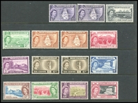 Lot 3988:1953-62 Pictorials SG #136a-146 set to 60c plus 'COLONY' types for ½c, 3c & 6c, Cat £27+. (15)
