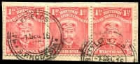 Lot 4283:Battlefields: 2 strikes of double-circle 'BATTLEFIELDS    /1DEC1916/S.RHODESIA' (MINE) removed on 1d Admiral strip of 3.