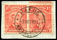 Lot 4287:Kafue: double-circle 'KAFUE/2OCT1924/N.R.RHODESIA