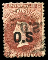 Lot 1709:1874-77 Bold 'OS' Wmk Large Star Perf 11½-12½: SG #O12a,b 1/- red-brown with No stop after S and 'O.S.' double, one inverted, a rare combination of errors, Cat £350+.