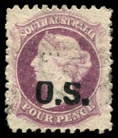 Lot 1707:1874-77 Bold 'OS' Wmk Large Star Perf 11½-12½: SG #O8 4d dull violet with Top of 'OS' shaved.