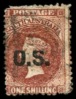 Lot 1708:1874-77 Bold 'OS' Wmk Large Star Perf 11½-12½: SG #O12 1/- red-brown with Top of 'OS' shaved, a bit grubby.