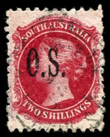 Lot 1718:1891-1902 Narrow 'OS' Wmk Broad Star Perf 10x11½-12½: SG #O35 2/- rose-carmine, Cat £10