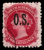 Lot 1716:1891-1902 Narrow 'OS' Wmk Broad Star Perf 11½-12½: SG #O34 2/- carmine with Thick Ovpt, rare null corner CTO cancel.