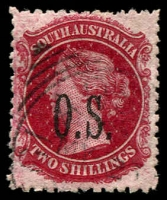 Lot 1717:1891-1902 Narrow 'OS' Wmk Broad Star Perf 11½-12½: SG #O34 2/- carmine, Cat £15