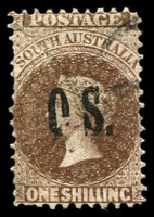 Lot 1714:1891-1902 Narrow 'OS' Wmk Broad Star Perf 11½-12½: SG #O33 1/- sepia (large holes) with Broken 'O', narrow stamp, Cat £5.5