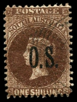 Lot 1715:1891-1902 Narrow 'OS' Wmk Broad Star Perf 11½-12½: SG #O33 1/- sepia (large holes) with Double (kiss) print, narrow stamp, Cat £5.5