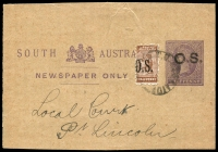 Lot 1740:1891-99 Narrow 'OS' Wmk Close SA Perf 10x11½-12½: SG #O63 ½d brown on official ½d purple wrapper piece, used to make double rate. Rare stamp on cover.