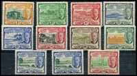 Lot 4313:1952 KGVI Pictorials SG #94-105 set to $4.80 excl 3c & 12c, with extra $1.20, Cat £38. (11)