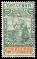 Lot 4456:1896-1906 Britannia SG #122 5/- green & brown, crease and 4d offset on back Cat £60.