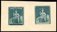 Lot 4448:1929? Reprinted Britannia Die Proofs Perkins Bacon sample plate reprint with 1851 style with the name replaced by crosshatching and 1859 style with the value 'blacked' out on single piece of cream card, both printed in relief from original dies in deep greenish blue. Unusual.