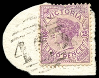 Lot 2124:463: '463' on 2d violet on piece.  Allocated to Teesdale-PO 8/3/1864; LPO 13/9/1993.