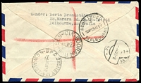 Lot 2248 [2 of 2]:Booran Road: - WWW #10A 'BOORAN ROAD S.E.9/27JE59/VIC.' on 3d, 9d & 2/6d on registered air cover to Austria. [Rated R]  PO 17/12/1934; LPO 12/8/1993.