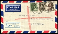Lot 2248 [1 of 2]:Booran Road: - WWW #10A 'BOORAN ROAD S.E.9/27JE59/VIC.' on 3d, 9d & 2/6d on registered air cover to Austria. [Rated R]  PO 17/12/1934; LPO 12/8/1993.