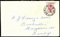 Lot 2277:Boort: - WWW #60A 27mm 'BOORT/10DE56/VIC' on 4d Olympics on cover  PO 14/8/1874; LPO 5/7/1994.