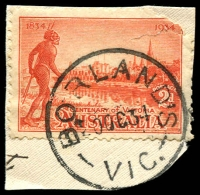 Lot 2311:Borland's: - WWW #10 'BORLAND'S/20OC34/VIC.' on 2d Vic Centenary on piece. [Rated 2R]  RO 12/8/1914; PO 1/7/1927; renamed Sailor's Falls PO c.1947.