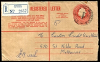 Lot 2314:Boronia: - WWW #20B 'BORONIA/30MR65/VIC-AUST' (arcs 5½,5), on 2/5d Registration Envelope.  RO 1/10/1920; PO 15/5/1922.
