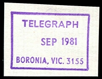 Lot 2346:Boronia: - WWW #510 violet boxed 'TELEGRAPH/  SEP1981/BORONIA, VIC. 3155' on piece. [Rated 3R]  RO 1/10/1920; PO 15/5/1922.