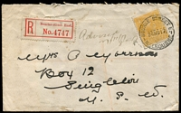 Lot 2366:Bourke Street East: - WWW #30 28½mm 'BOURKE STREET E./24NO17/MELBOURNE' on 4d orange KGV on cover (small faults) with red V2 registration label.  Replaced Eastern Market RH 23/6/1886; PO c.1902; closed 20/6/1969.