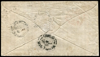 Lot 2654 [1 of 2]:Omeo (3): - WWW #5 unframed oval 'OMEO/SE-27/58/VICTORIA' arrival on cover from Paddington NSW, light clear red oval 'SHIP LETTER/FREE/SE*9/1858/GPO·VICTORIA' also on back  PO 1/1/1858; LPO 22/10/1993.