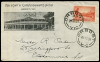 Lot 2690 [1 of 2]:Orbost: - WWW #40B 28mm 'ORBOST/30SE19/VIC' (recut arcs 7½,7) on 2d Vic Centenary on Marshall's Commonwealth Hotel, Orbost cover (small photo).  Renamed from Numerella PO 5/11/1883.