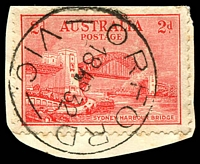 Lot 2735:Orford: - WWW #30C 30mm 'ORFORD/18AP32/VIC.' (dateline corrected) on 2d Bridge on piece.  PO 20/3/1865; closed 8/7/1977.