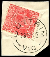 Lot 2781:Outtrim: - WWW #30 'OUTTRIM/28MY27/VIC' on 1½d red KGV on piece  PO 10/5/1894; closed 14/5/1957. [Black coal mine]
