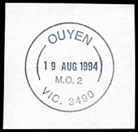Lot 2808:Ouyen: - WWW #330 31mm 'OUYEN/19AUG1994/M.O. 2/VIC. 3490' (9DL) on piece.  RO 22/10/1907; PO 1/10/1908; LPO 1/4/1999.