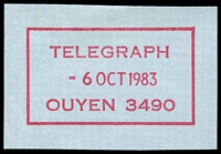 Lot 2822:Ouyen: - WWW #910 magenta boxed 'TELEGRAPH/6OCT1983/OUYEN 3490' (ERD) on piece.  RO 22/10/1907; PO 1/10/1908; LPO 1/4/1999.