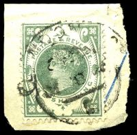 Lot 3664:1887-92 Jubilee SG #211 1/- green, Cat £60, on piece, London hooded datestamp.