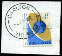 Lot 9157:Carlton: 'CARLTON/4AP68/VIC-AUST' (Office240 - experimental LDL) on 5c. [Rated R]  PO 19/10/1865; LPO 28/3/1994.