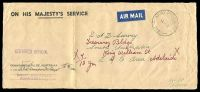 Lot 842:1943 long official airmail front with 'ARMY POST OFFICE/4DE43/058.' (A1) used at Brisbane, 'SURVEY DIRECTORATE/ADVANCED L.H.Q.' hand-stamp (A1) in violet at L/L, vertical fold.