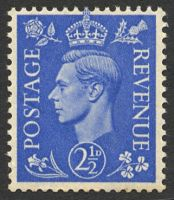 Lot 19435:1941-42 Pale Colours 2½d pale ultramarine with Wmk Inverted, SG #489Wi minor marks on gum.