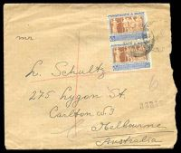 Lot 29017 [1 of 2]:1948 commercial registered cover to Australia with Monument 12c pair, roughly opened at right.